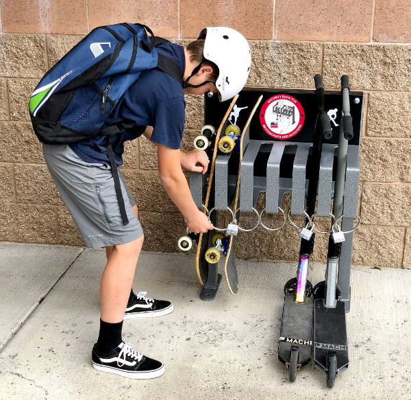skateboard and scooter security rack