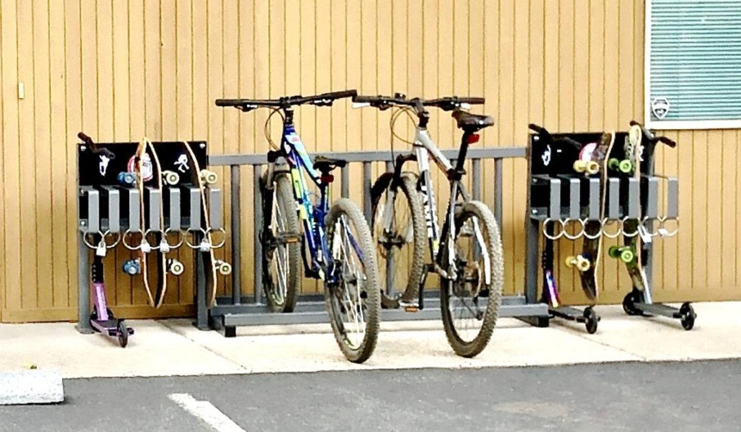 skateboard scooter and bike rack