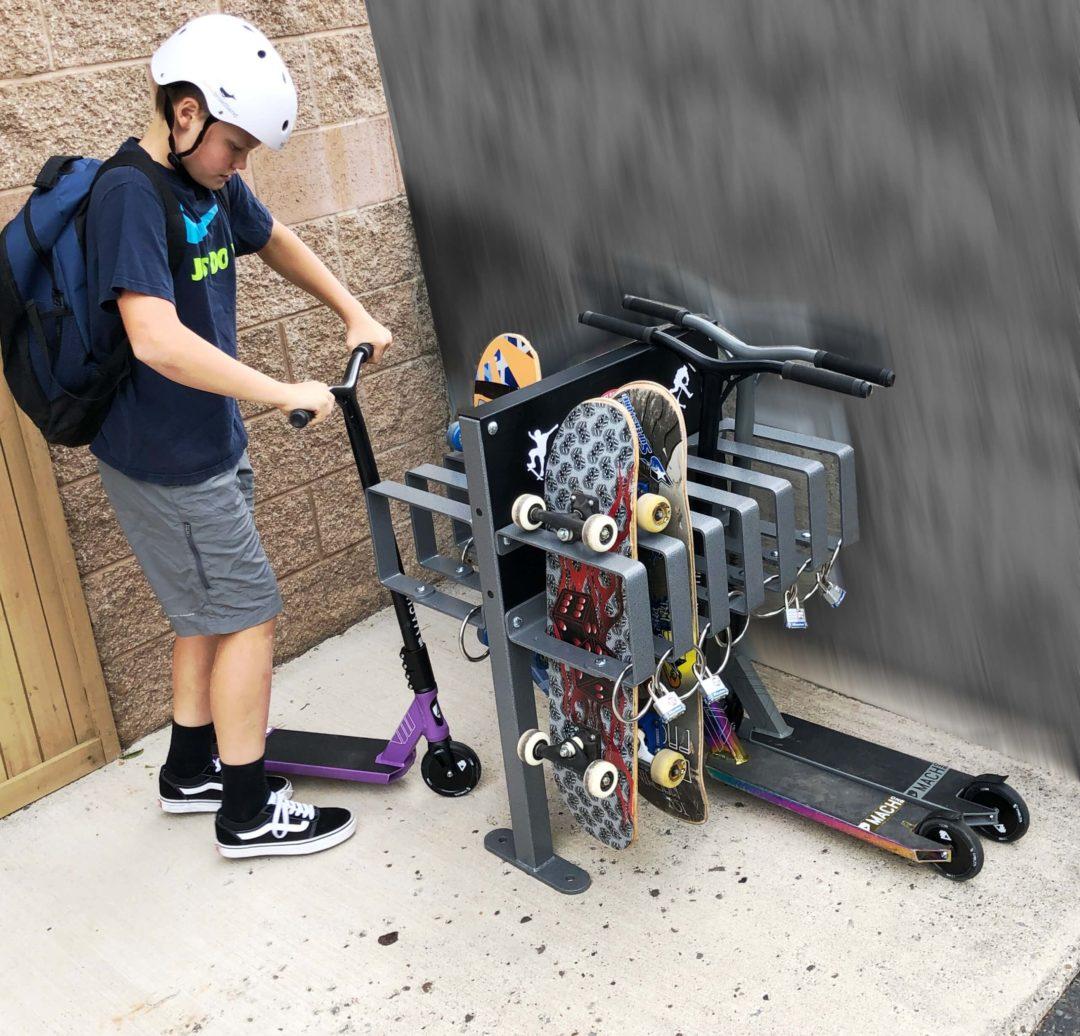 skateboard scooter security rack